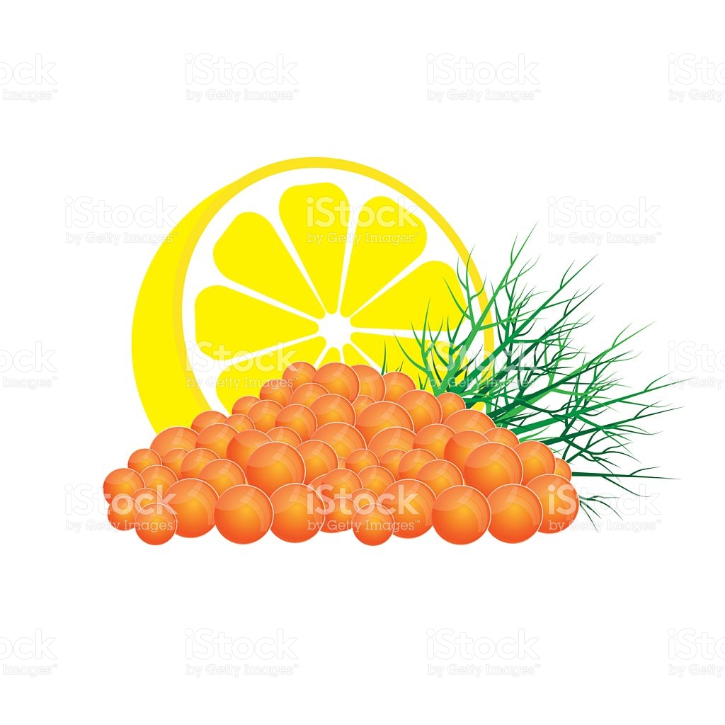 Red Caviar With Lemon And Dill stock vector art 637707460.