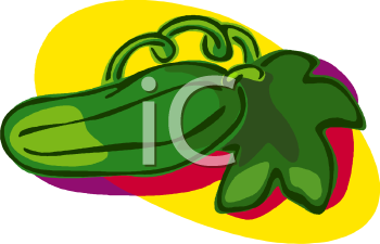 A Dill Pickle With A Cucumber Leaf Clipart Image.
