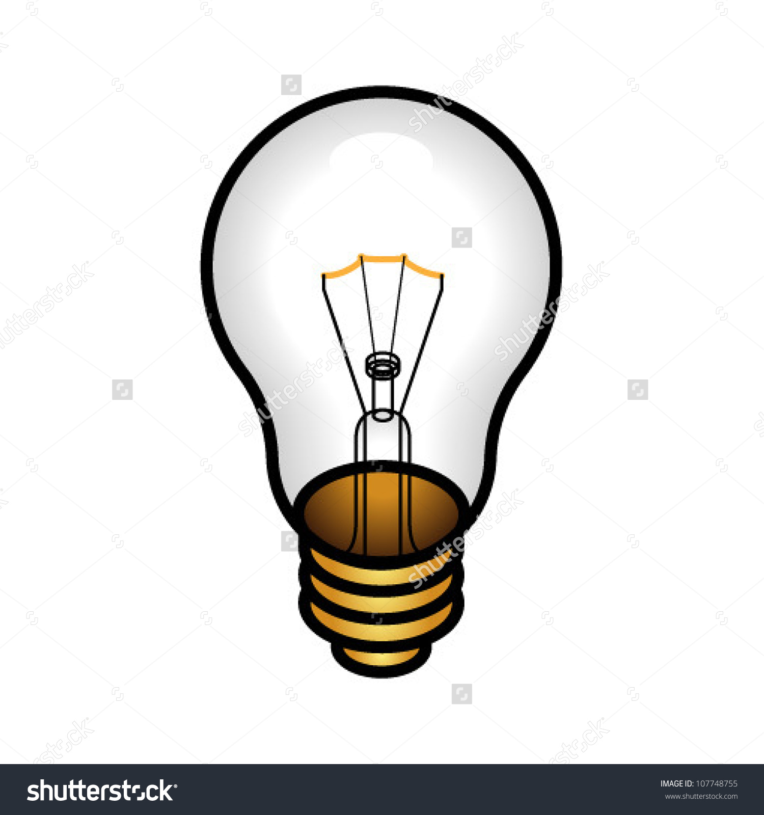 Traditional Incandescent Light Bulb Concept Dim Stock Vector.