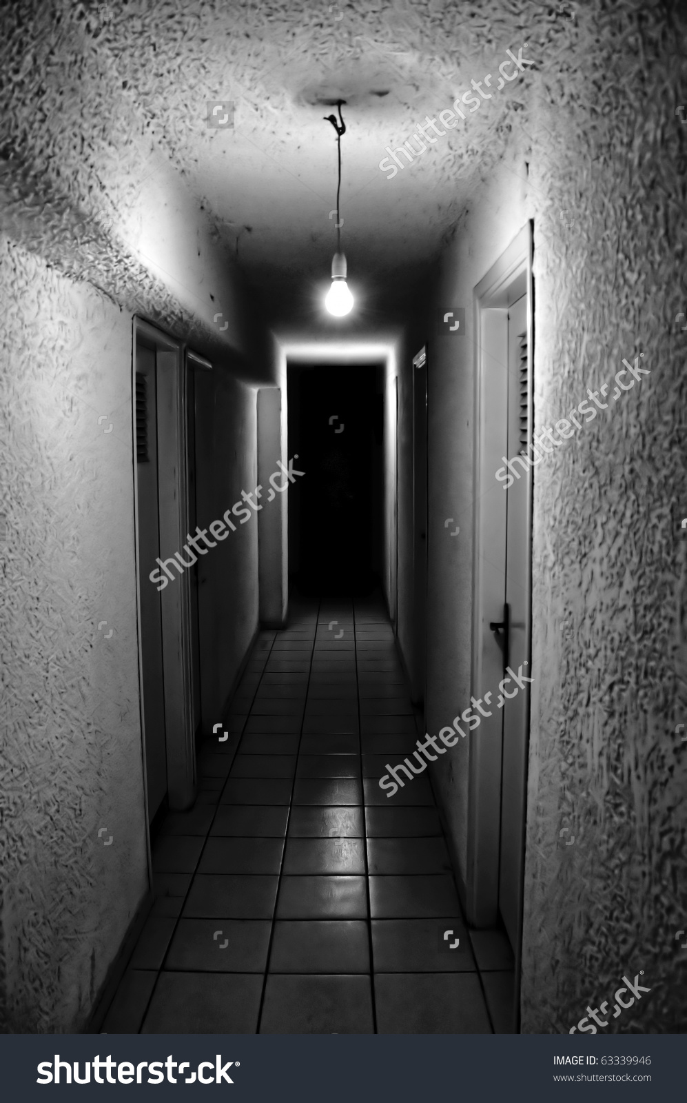 Dim Light Glowing Dark Underground Corridor Stock Photo 63339946.