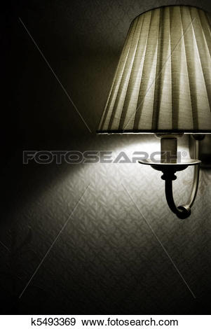 Stock Illustration of Photo of wall lamp with dim light k5493369.