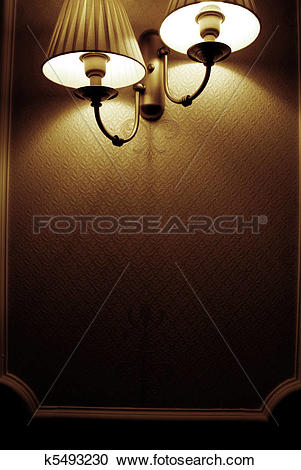 Stock Illustrations of Photo of wall lamp with dim light k5493230.