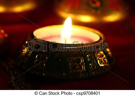 Stock Photography of Diwali Candles Dim Light.