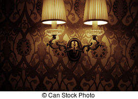 Photo of wall lamp with dim light Illustrations and Clip Art. 12.