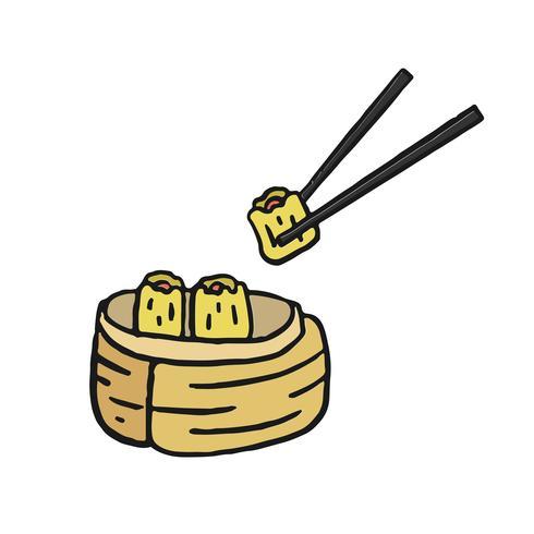 Dim sum, Chinese cuisine menu illustration.