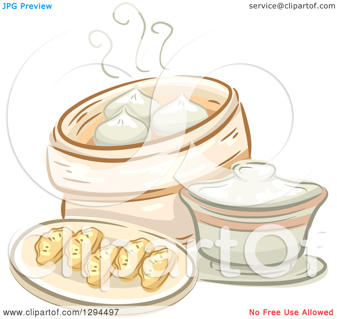 Clipart of a Sketched Plate of Dimsum and a Container of Meat Buns.