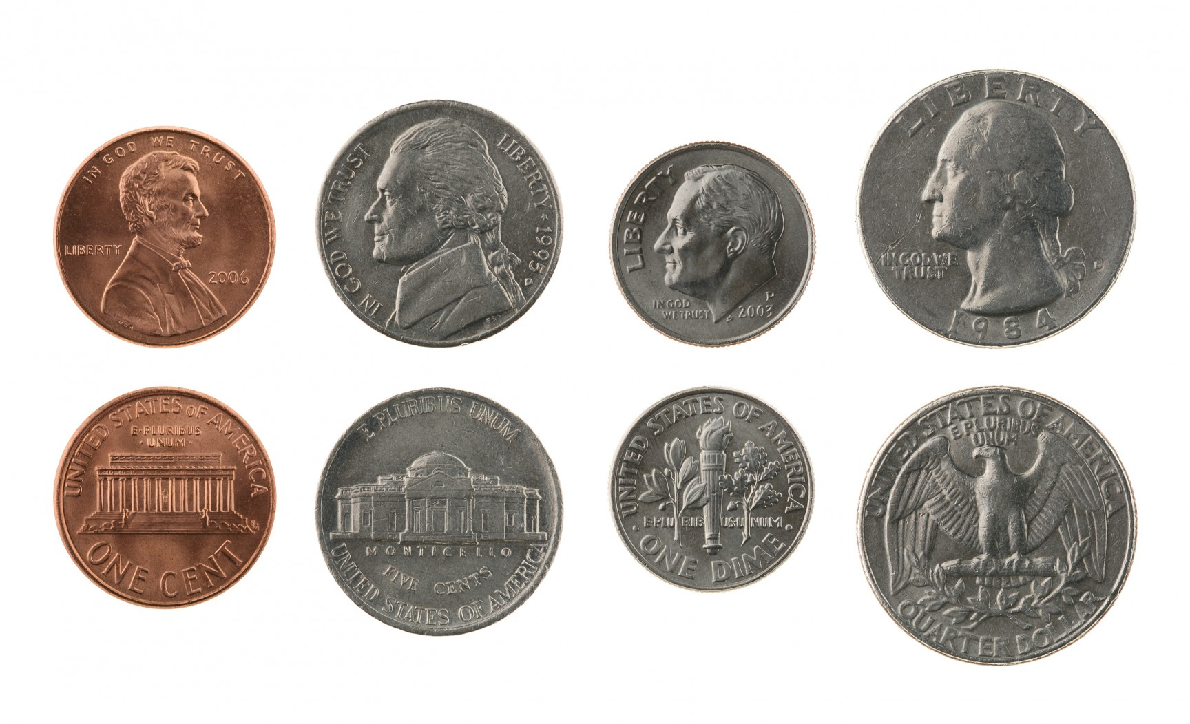 Penny nickel dime quarter clipart.