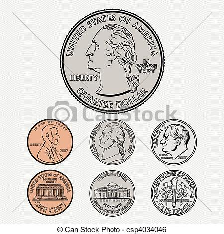 Clip Art Vector of Vector Coins with Background.