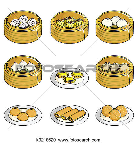 Clipart of Chinese dim sum, used for restaurant menu cover.