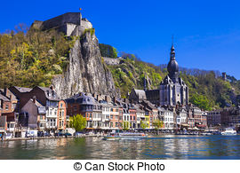 Pictures of Cityscape of Dinant at the river Meuse, Belgium.