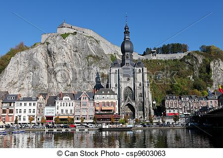 Stock Photos of The center of the town of Dinant with the.