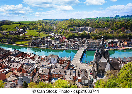 Stock Photo of Top view of Dinant with Charles de Gaulle bridge.