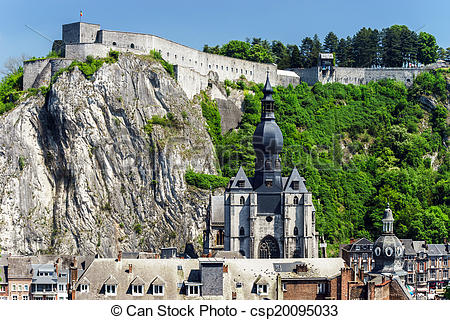 Stock Photos of Dinant bird fly view. Summer day. Belgium.