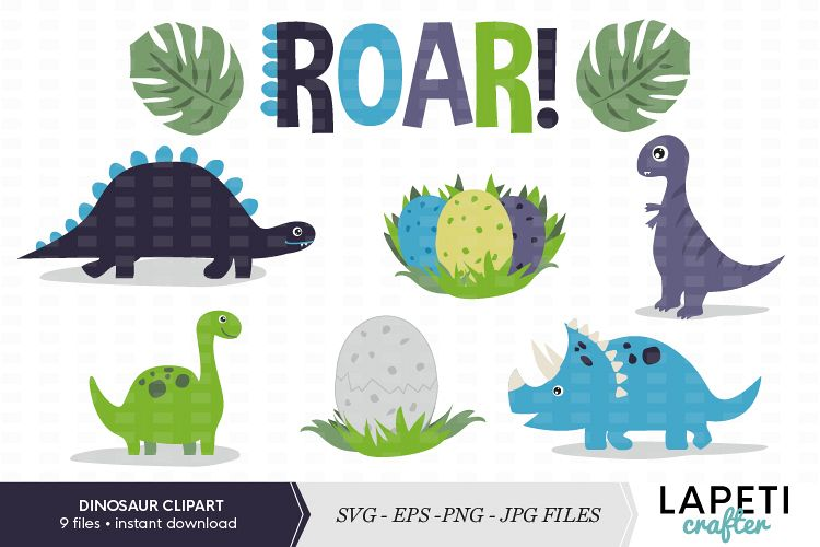 Dinosaur clipart set, SVG, PNG JPG EPS files.