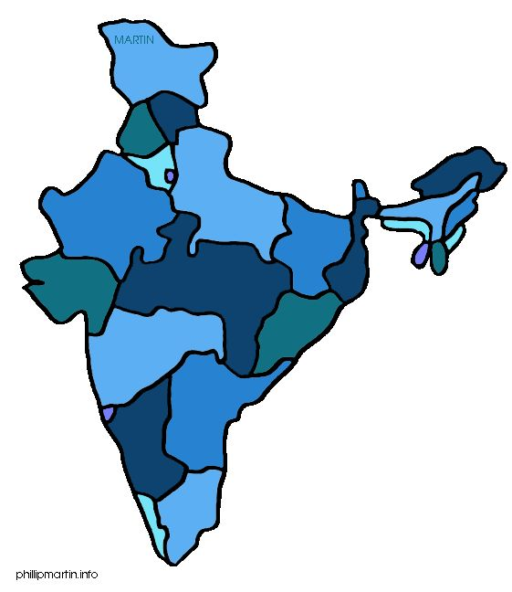 Free India Clip Art by Phillip Martin, Map of India.