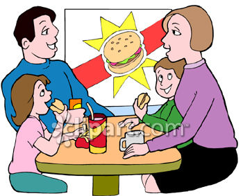 Family Eating Burgers in a Fast Food Place Clipart.