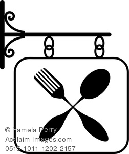 Clip Art Image of a Black and White Fork and Spoon Symbol on a.