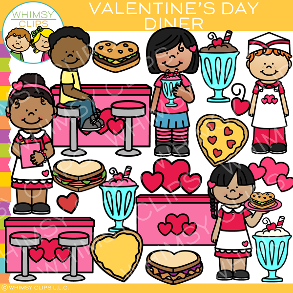 Valentine's Day Diner Clip Art.