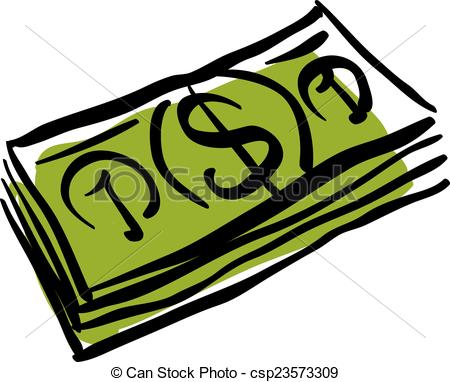 Vector Clipart of Vector green money packet icon, hand drawn.