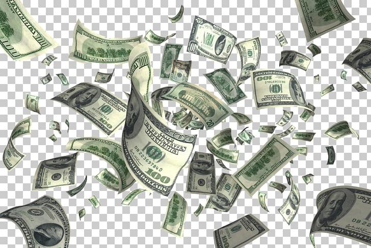 Red portátil gráficos dinero dólar de Estados Unidos volando.