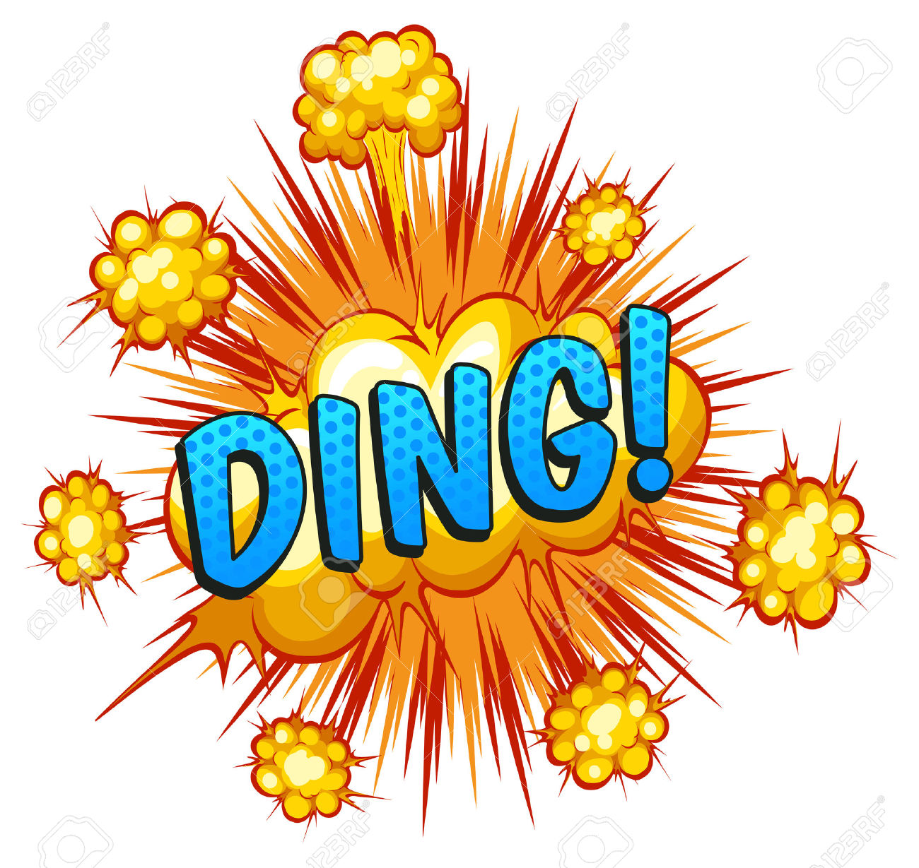 Word Ding With Explosion Background Royalty Free Cliparts, Vectors.