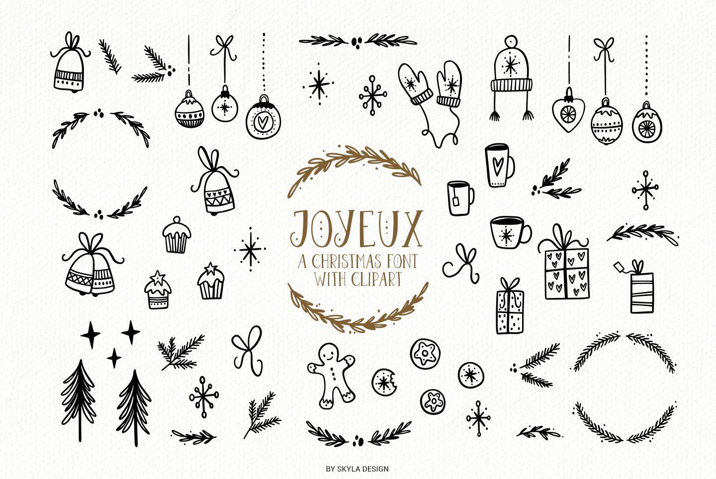 Joyeux Christmas font & Dingbat clipart illustrations.
