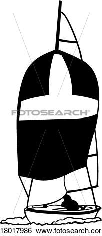 Clip Art of , boat, dinghy, sailboat, sailing, sport, u18017986.