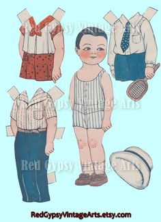 Vintage Paper Dolls Cutouts Dolly Dingle by RedGypsyVintageArts.