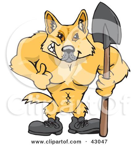 Cartoon of a Cute Aussie Dingo Dog.