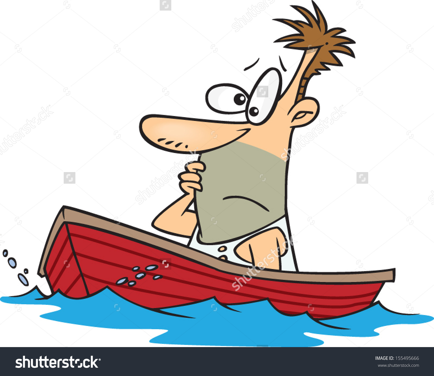 Stranded Cartoon Man Sitting Dingy Boat Stock Vector 155495666.
