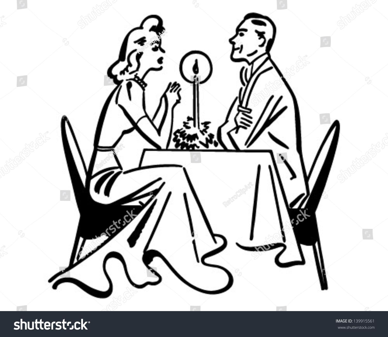 Dining Couple Retro Clip Art Illustration Stock Vector (Royalty Free.