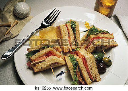 Stock Image of Dining, Club Sandwich, Dining, Food, Golf, Golfing.