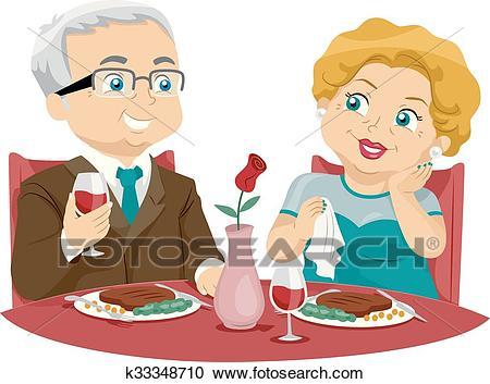 Senior Couple Fine Dining Clipart.