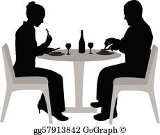 Couple Dining Clip Art.