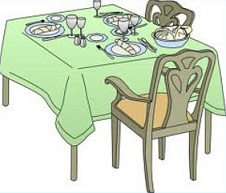 Dining room table clipart.