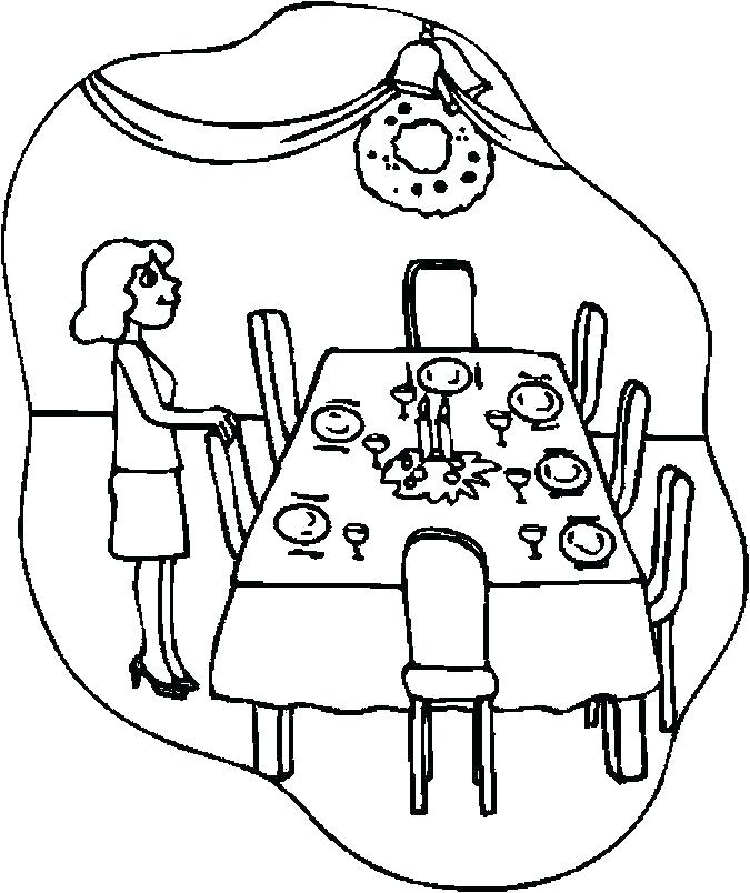 dinner table clipart black and white.