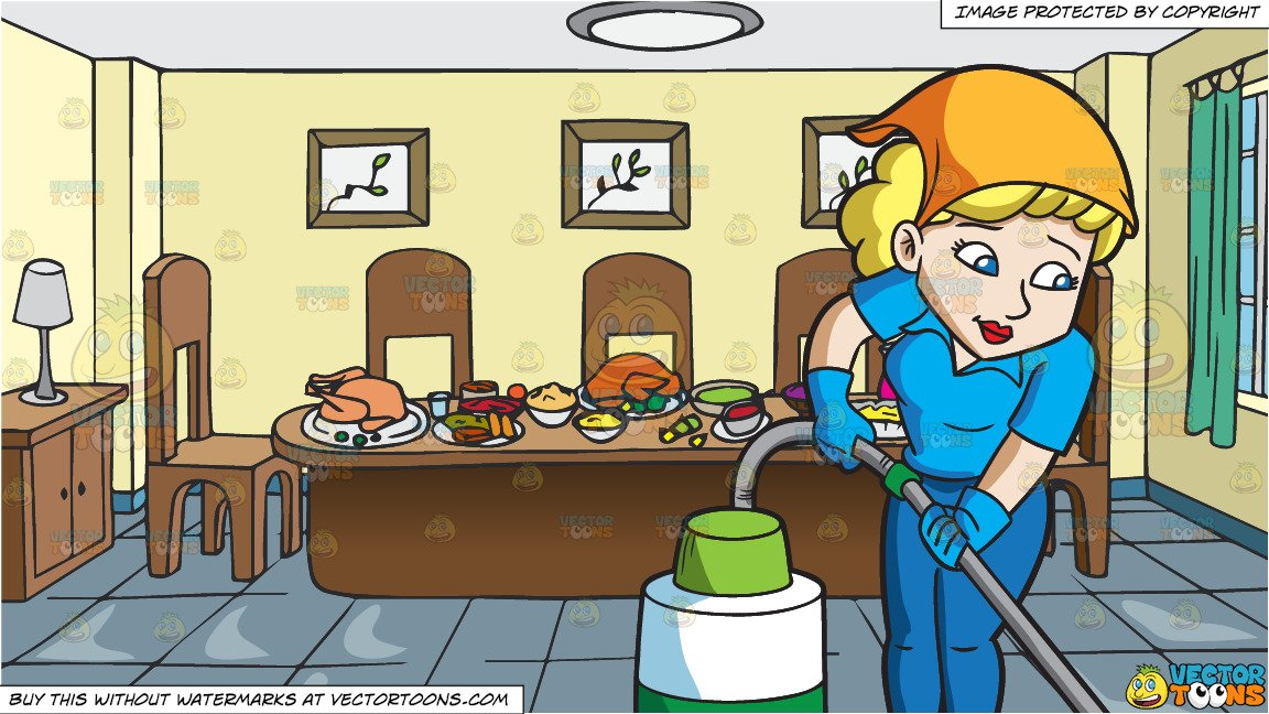 A Woman Cleaning The Floor With A Vacuum and A Dining Room Table Full Of  Food Background.