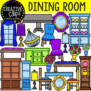 Dining Room Furniture Clipart {Creative Clips Clipart}.