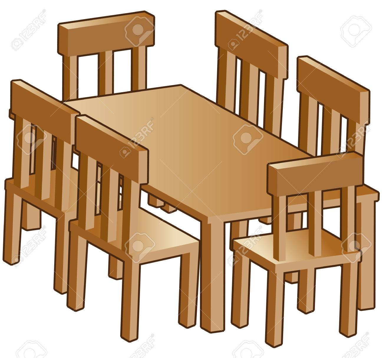 Dining room table isolated on a white background..