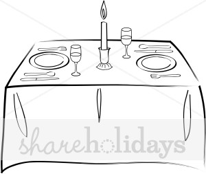 Formal dining table clipart black and white.