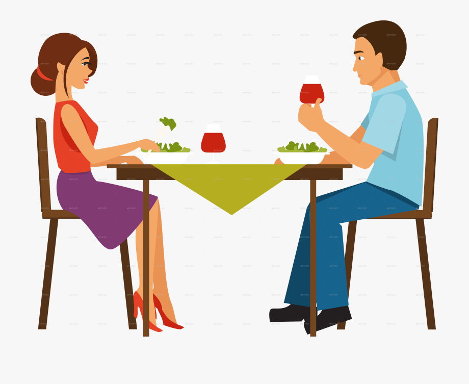 Couple Eating Dinner Transparent & Png Clipart Free.