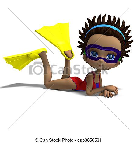 Clipart of dinky toon girl with diving goggles and flippers. 3D.