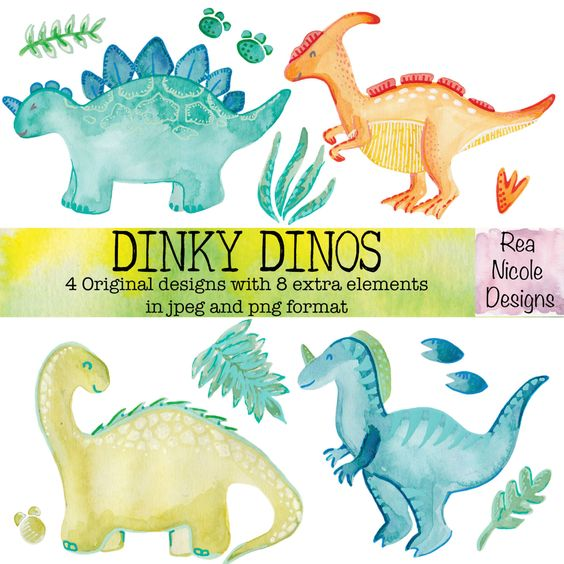 Dinky Dinosaurs Watercolor clipart, perfect for scrapbooks,digital.