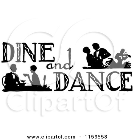 Clipart of a Black and White Retro Dine and Dance Sign.