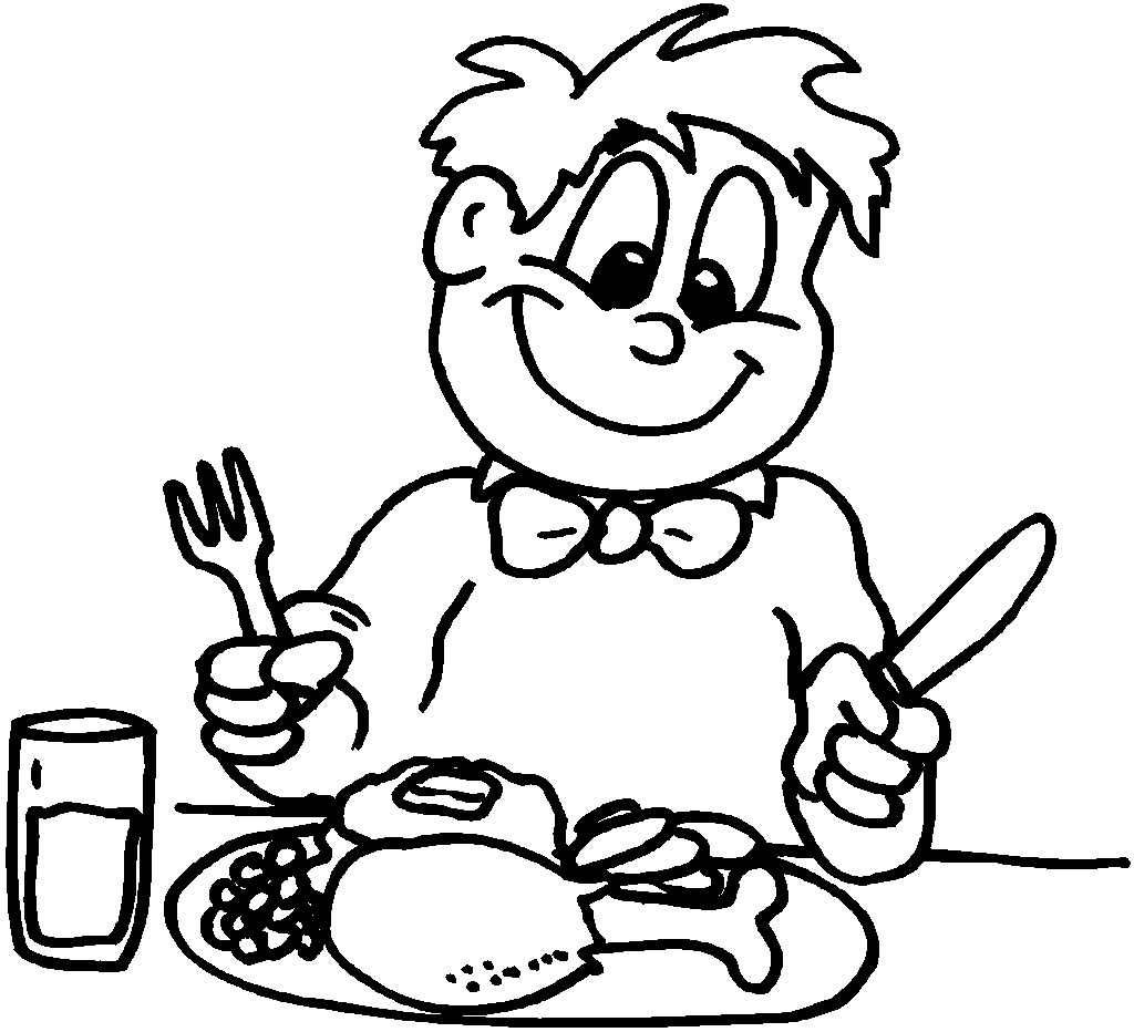 Child Eating Clipart Black And White.