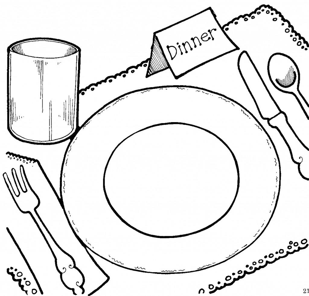 Thanksgiving dinner clipart black and white clip art.