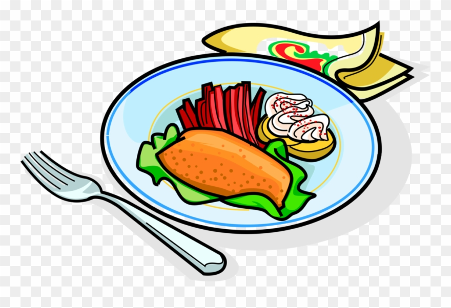 Vector Illustration Of Russian Cuisine Garnished Fried.