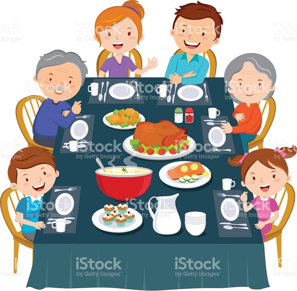 Family Eating Thanksgiving Dinner Clipart.