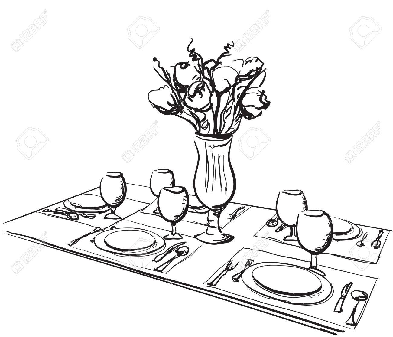 Hand Drawn wares. Romantic dinner for two..