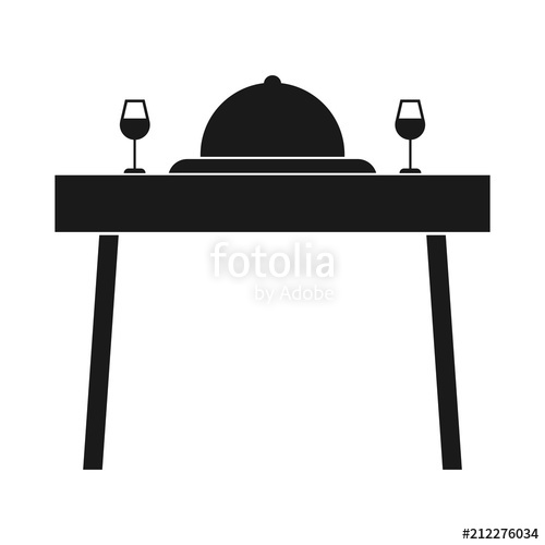 Simple, flat dinner for two icon. Dinner table with wine icon.